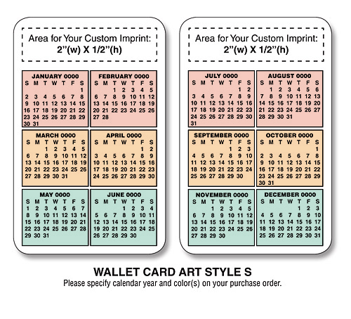 Promotional laminated wallet cards wallet calendar cards for 2104 calendar template