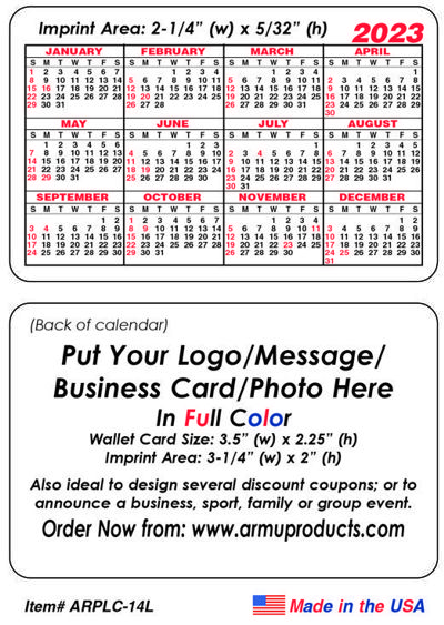 Custom Printed Wallet Calendar Cards   Promotional, Customized
